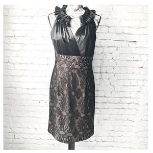 Donna Ricco Black Lace and Satin Sheath Dress